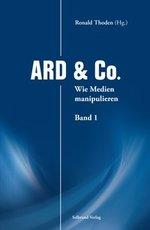 """Ein schlicht gestaltetes Buchcover mit einem blauen Hintergrund im Design des ARD-Logos. In großen,  weißen Buchstaben steht der Titel: """"ARD & Co.""""."""