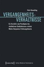 """Buchcover in schwarz mit weißem Untertitel. Der Titel selbst ist türkis und ein horizontaler Balken unterteilt ihn zwischen """"Vergangenheits-"""" und """"Verhältnisse""""."""