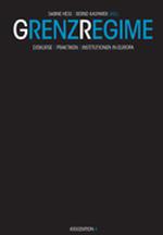 """Buchcover komplett schwarz, nur der Titel des Buches """"GrenzRegime"""" ist oben in blau-weißer Schrift davon abgehoben."""