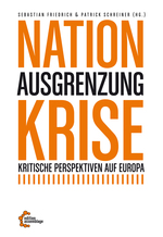 Die Wörter Nation und Krise stehen groß und orange, das Wort Ausgrenzung dazwischen ist etwas kleiner und schwarz.