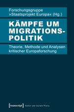 """Sehr schlichtes, schnörkelloses Buchcover. Der Titel """"Kämpfe um Migrationspolitik"""" ist fettgedruckt hervorgehoben."""