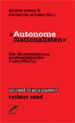 """Signalrotes Buchcover mit schwarz-weißer Überschrift """"Autonome Nationalisten"""" und dem kleineren, in schwarz gehaltenen Untertitel """"Die Modernisierung neonazistischer Jugendkultur."""""""